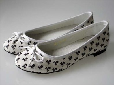Couture Discount Ballerinas Fashion Totenkopf Weiss