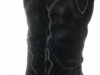 Couture Discount Damenstiefel Fashion Slouch Boots Wildleder Schwarz